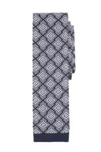 An amazing navy-white silk flat knit tie from Salt+Dapper