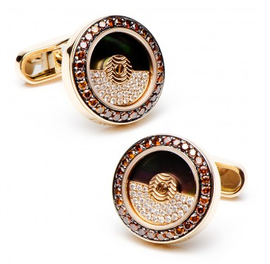 Cognac Diamond Moving Rotor Cufflinks by Jacob & Co.