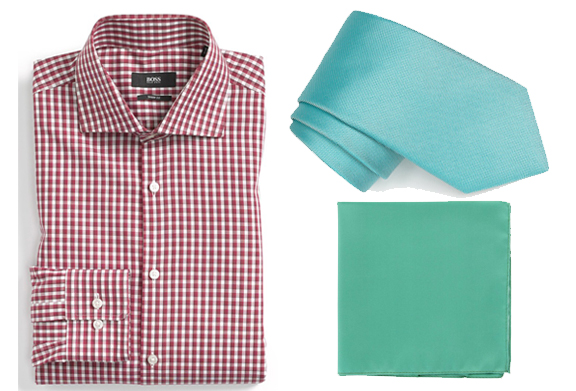 A red checkered shirt goes great with a turquoise tie and an aqua-green pocket square. The more shades you use, the more subtle your outfits will be.