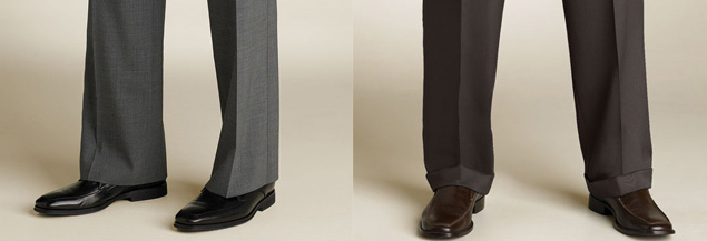 Pants with no cuffs (left) and pants with cuffs (right)