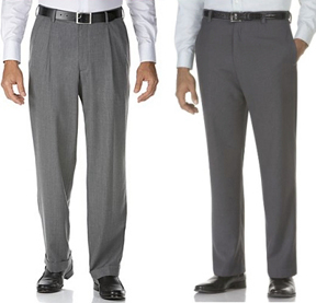 Pants with pleats (left) and pants with no pleats (right)