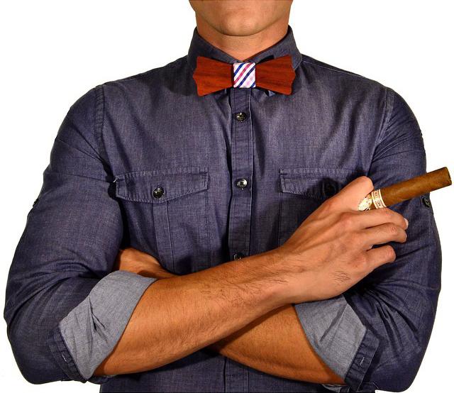 cigar denim bow tie
