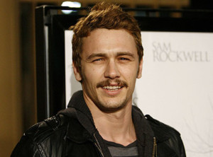 James Franco wearing a mustache