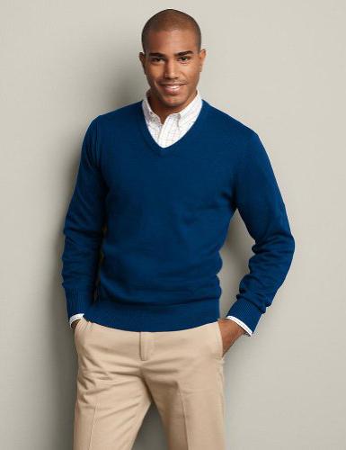 Blue Sweater White Shirt 44