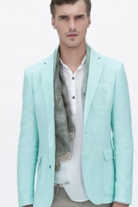 A blue pastel blazer paired with a white shirt