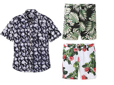This Brooklyn Tailors batik floral print shirt can be paired with a great pair of Penfield Grafton shorts (above) or with a pair of MSGM Flower Shorts.