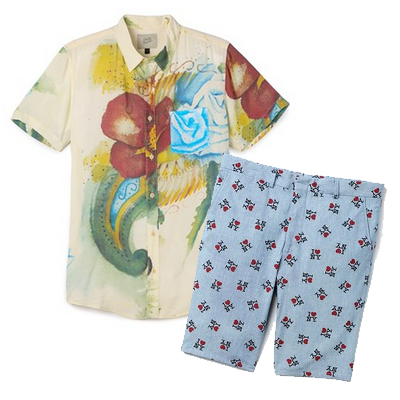 A Deus Ex Machina floral print shirt paired with a pair of Gitman Vintage I Love NY blue shorts